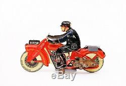 Vintage Mettoy Police Patrol Motorcycle Tin Wind-up Toy Made in England