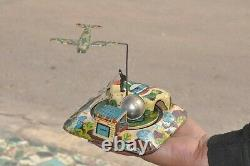 Vintage Mini Train Station Litho Tin Wind Up Toy, Collectible