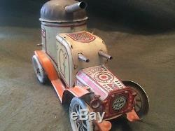 Vintage OROBR Tin Wind Up Army Tank Armored Car Made in Germany 1920's RARE