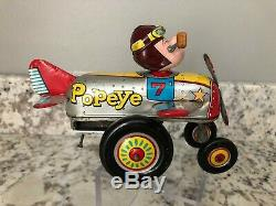 Vintage Original 1950's Linemar Mechanical Popeye Air-O-Plane Tin Wind Up Toy NM