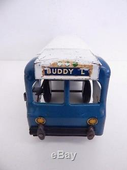 Vintage Original Buddy L Toy Wind-Up Greyhound Lines Bus with Electric Lights