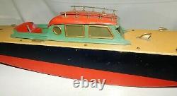Vintage Orkin Craft Canal Barge Boat Clockwork Model Boat for Restoration