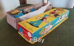 Vintage Popeye Juggling Olive Oyl Wind-Up Toy in Box. Works. Japan, Linemar