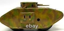 Vintage Rare Bing Large Clockwork Mark V Tin Lithographed Tank