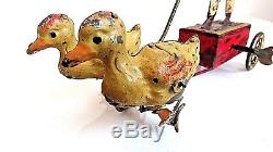 Vintage Rare Gunthermann/Günthermann 1905 Tin Windup Man withTwo Ducks Working