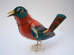 Vintage Rare Tin Mechanical Wind-up Toy Bird Singing And Waving Wings Works