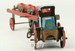 Vintage Scarce Marx Tin Litho Windup MACK Car Hauler with 3 Racers Set