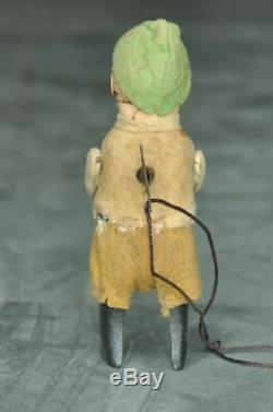 Vintage Schuco Textured Cloth Boy With Jug Litho Wind Up Toy, Germany