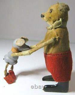 Vintage Schuco Tin-Plate Clockwork Wind-Up Mouse Toy German Needs Some TLC