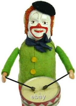 Vintage Schuco Wind-up Clown Snare Drummer Playing Drums Germany withKey Works