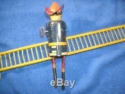 Vintage Smokey Joe Fireman Climbing Ladder Wind Up Tin Toy 1930s MARX