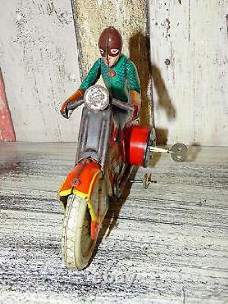 Vintage Soviet LENINGRAD MOTORCYCLE BIKER MOTORMAN Wind-Up Tin Toy Key 1960's