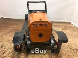Vintage Structo Wind Up Car, Early Pressed Steel Toy