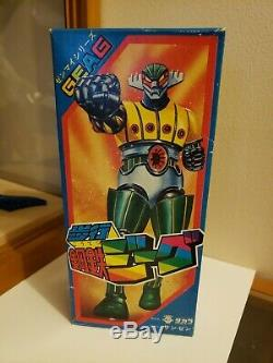 Vintage Takara Japan Tin windup toy Geag Jeeg working condition with box popy