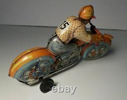 Vintage Technofix Tin Litho Windup Motorcycle Racer #15 US Zone Germany