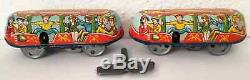 Vintage Technofix Toboggan Roller Coaster Tin Toy Two Wind Up Cars Works