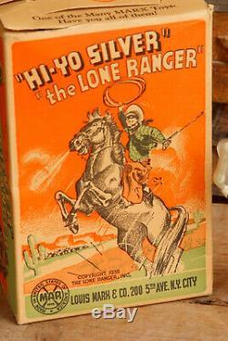 Vintage Tin 1938 Marx Lone Ranger, Hi Yo Silver Wind Up Toy With Original Box