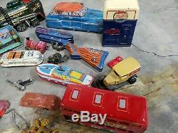 Vintage Tin Battery Op Friction Tin Toy Windup Japan Tin Toy Lot marx cragstan