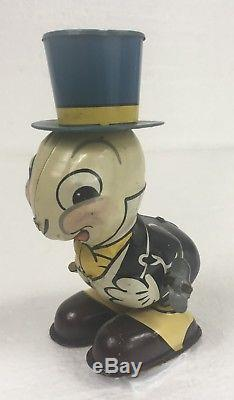 Vintage Tin Jiminy Cricket Windup Toy Japan Line Mar Walt Disney Needs Repair