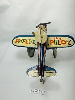 Vintage Tin Litho Airplane Pilot Popeye Wind Up Tin Toy