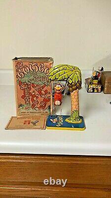 Vintage Tin Litho Bombo Monkey Toy Works Key Included Signed Unique Art / Box