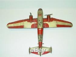Vintage Tin Litho Marx TWA Airplane Bomber, Wind Up Toy Plane
