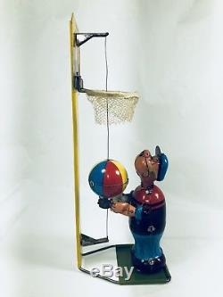 Vintage Tin Litho Popeye Shooting Hoops Wind Up Tin Toy Works Linemar 9