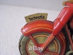 Vintage Tin Litho Wind Up Technofix Motorcycle U. S. Zone Germany 40's 50's Toy