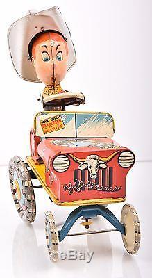 Vintage Tin Litho Wind Up Toy Car Jeep COWBOY RODEO Unique Art