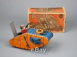 Vintage Tin Litho Wind-Up Toy, Doughboy Tank with Original Box, MARX, ca. 1930, VG