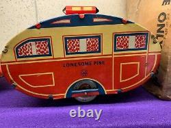Vintage Tin Litho Wind-up Auto & Trailer, Lonesome Pine, Marx, 1930s, Vgc #37