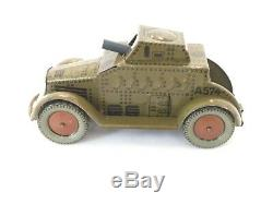 Vintage Tin Litho Windup Armored Car Made in Germany circa 1930s RARE