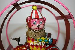 Vintage Tin Round About Circus Bear Clown Cycle made in japan in the 1960's