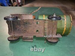 Vintage Tin Toy Truck Marx Lone Eagle Oil Company Gasolene Tanker Old Wind-up