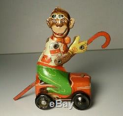 Vintage Tin Toy Windup Litho Monkey on Car with Cane Penny Toy