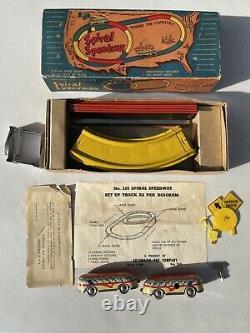 Vintage Tin Wind Up SPIRAL SPEEDWAY, No 320, Original Box, Key & Instructions