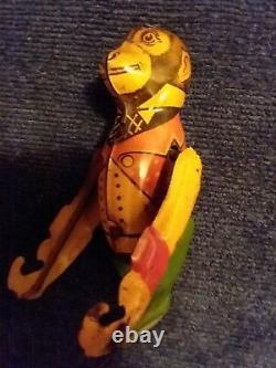 Vintage Tin Wind-up Toy ACROBAT TRAPEZE MONKEY (Marx or Gunthermann) Works