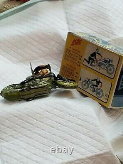 Vintage US Zone Germany ARNOLD MAC 700 Motorcycle Tin Windup Toy with box