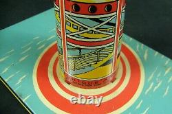 Vintage Unique Art Sky Rangers Tin Wind Up Toy Plane & Zeppelin Good Condition
