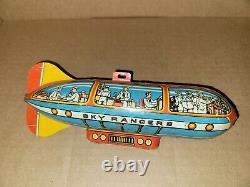 Vintage Unique Art Tin Litho Sky Rangers Wind-Up Toy Broken Arm