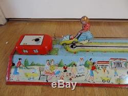 Vintage VERY RARE Tin toy wind-up Athens nurse pram ride trail FINO GREECE 50's