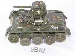 Vintage WW2 ERA Wind Up DRGM Gama 65 Litho Military War Tank Tin Toy Germany
