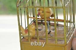 Vintage Wind Up Bird Feeding Baby Litho Tin & Celluloid Toy, Japan/Germany