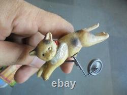 Vintage Wind Up C. K Trademark Litho Tin & Celluloid Dog Chasing Cat Toy, Japan