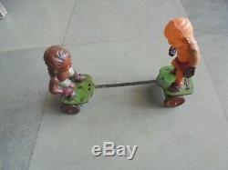Vintage Wind Up Colorful Celluloid & Tin Boxer Fighting Toy, Japan