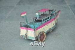 Vintage Wind Up Early Handpainted Unique Tin Boat Toy, Germany