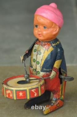 Vintage Wind Up Litho Boy/Musician Playing Drum Tin Toy, Japan