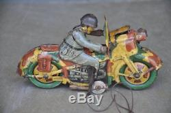 Vintage Wind Up Litho Fire Sparkle Army Police Tin Motorcycle Toy, Japan