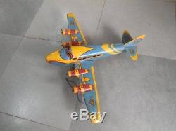 Vintage Wind Up MT Trademark Litho Airplane Tin Toy, Japan