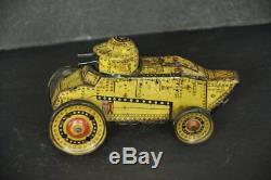 Vintage Wind Up MT Trademark Litho Double Gun Sparkle Tin War Tank Toy, Japan